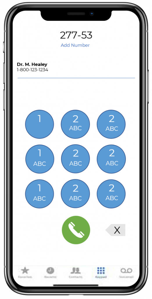 SNFConnect Iphone phone keypad